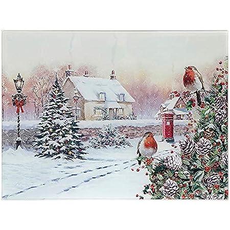 Macneil Christmas Robins Scene Glass Cutting Chopping Board Worktop Saver Amazon Co Uk Kitchen Home