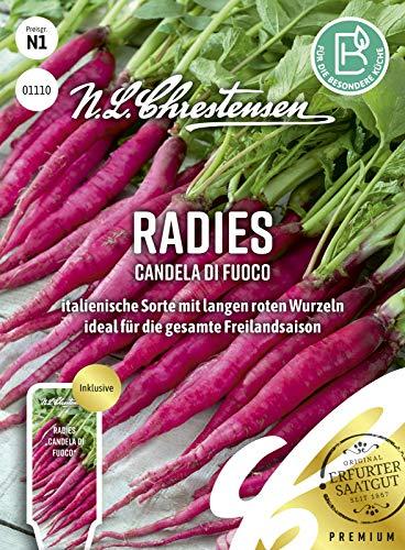 01110 N. L. Chrestensen Radieschen Samen | Alte Sorte | italienisches Radieschen Saatgut | Mild und Würzig