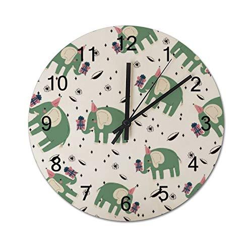 None-brands Reloj de pared con diseño de elefante, color verde, de 30,48 cm, silencioso, de madera, funciona con pilas, para cocina, hogar, sala de estar, oficina