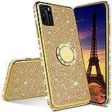 Huawei Y5P Étui,Huawei Y5P Coque Glitter Paillette Brillante Cristal Silicone TPU Rubber Housse Flexible Souple Bumper Case avec 360 Rotation Bague Diamant Strass Bague Stand Holder,Gold