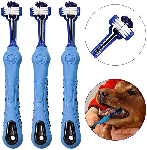Aidiyapet Hund Zahnbürste für Pet Dental Care – Triple Zahnbürste – Griff Design für einfache Oral Care Pflege (Blau)