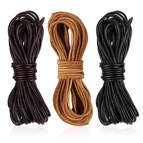 FLOFIA 3 Rollos de 20m x 2mm Cuerdas cuero redonda Cordón cuero Tira de piel negro marrón para Colgante Collar Pulsera Abalorios Manualidades DIY Bisutería Joyas (Negro, Marrón oscuro, Marrón