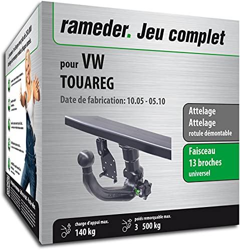 Rameder Pack, attelage rotule démontable + Faisceau 13 Broches Compatible avec VW Touareg (162086-04920-1-FR)