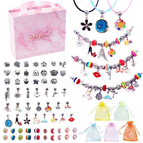 Charm Bracelets Kit,JBonest 74 Pcs Bracelet Making Kit with Beads,Charms, Bracelets,Necklaces,Small Jewelry Bags,Pink Box, Jewelry Making Craft Set Gift for Girls,Adults and Beginners.
