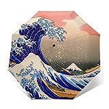 The Great Wave Off - Paraguas japonesas resistente al viento compacto para mujeres y hombres