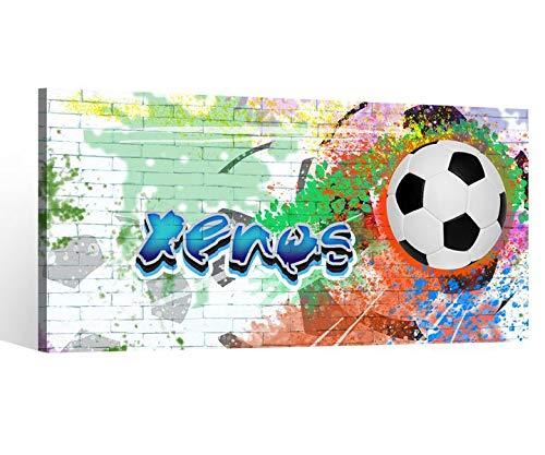 Leinwandbild Xenos Name Wunschname Junge Fussball Ball Kinder Zimmer Boys Bilder Leinwand Wandbild Leinwandbilder 9DB2257, Leinwand Größe 1:80x40cm