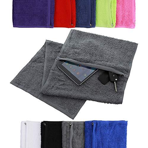 aztex Deluxe Sporthandtuch mit Reißverschlussfach, 100% Baumwolle, Baumwolle, grau