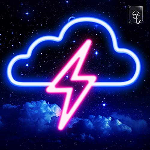 Neon Signs, JTLMEEN Cloud and Lightning Led Neon Light, Neon Light Sign for Wall USB/Battery Powered Led Neon Sign for Bedroom Aesthetic Cool Room Decor (Pink)