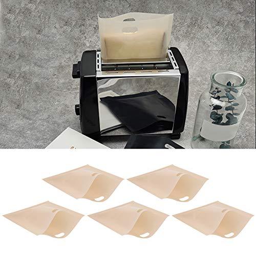 Bolsas de tostadora reutilizables de 5 piezas Bolsas de pan antiadherentes resistentes al calor Emparedados Recipiente calefactor de pizza en tostadora, horno de microondas o parrilla