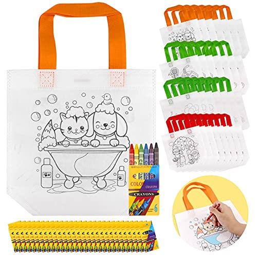 Yodeace Bolsas para Colorear, 60pz Kit 30PCS Cartoon DIY Bolsas para Colorear+30 Sets Crayones de Colores para Niños, Niñas, Regalos Cumpleaños Niños Colegio Juguetes Educativos