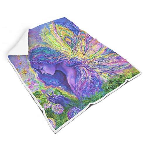CHSYT Kleurrijke meisjes vleugels plant regenboog vierkant plafond warm zacht reizen magie voor vrouwen kinderen