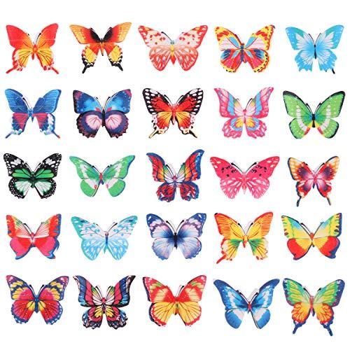 BESTONZON Set di 100 cialde di carta commestibile farfalla CakeCupcake Toppers colori assortiti decorazione cibo (100pcs)