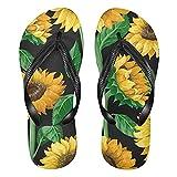 Linomo Chanclas para hombre y mujer, con diseño de girasol, para verano, para la playa, multicolor, 40/41 EU