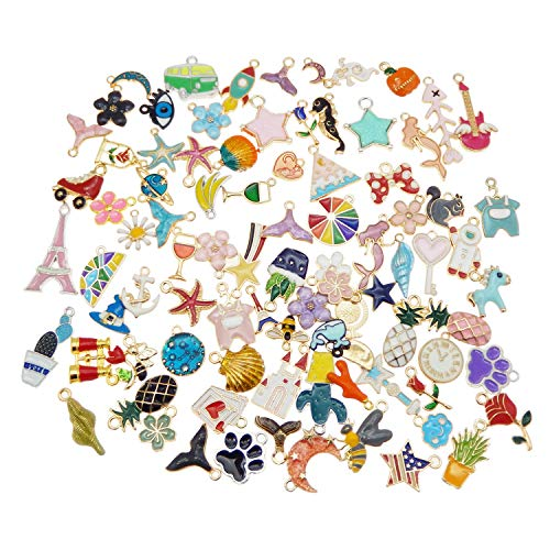 Pack of (x40) Assorted Colors Enamel Covered Metal Mixed Kinds Jewellery Findings Bracelets Earrings Necklaces Pendants Charms Craft Making Accessories 1cm - 3cm