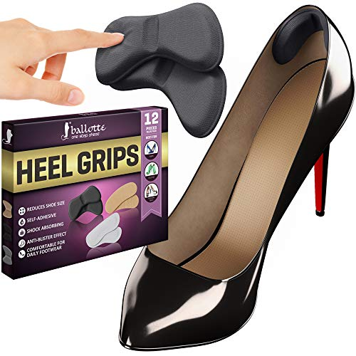 12 Heel Grips Shoes Too Big Set, Thick Gel Heel Pads, Back Insoles [Add Extra Volume] Anti Blister Shoe Liners from Slipping Out and Rubbing, Perfect Heel Protectors for New Shoes