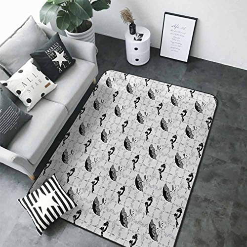 "Kitchen Room Floor Mat Rug Colorful Vintage,Women Fashion Themed Elements Retro Style Hats Gloves Umbrella and Shoes,Black Pale Grey White 48""x 60"" Best Floor mats"
