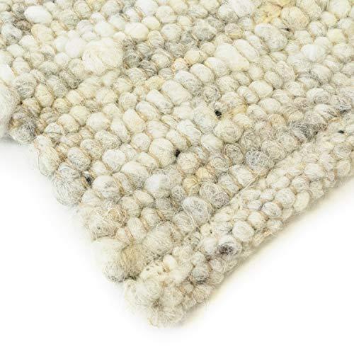 Hand-Web-Teppich | Reine Schur-Wolle im Skandinavischen Design | Wohnzimmer Esszimmer Schlafzimmer Flur Läufer | Grau Beige (Oslo Natur - 250 x 340 cm)