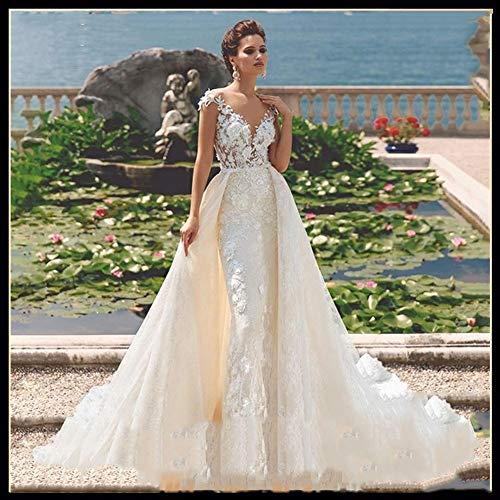 Ballkleid,brautkleid Wedding Dress mit tiefem V-Ausschnitt weg von der Schulter 2 in 1 abnehmbaren Zuge Vintage Meerjungfrau-Braut-Kleid Customized abendkleid,abendkleider elegant für hochzeit