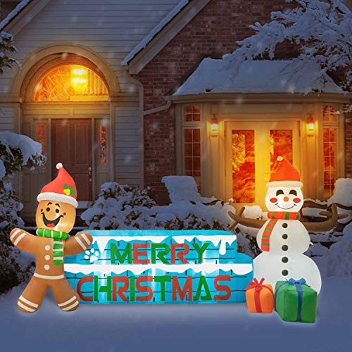 Rocinha 9 Ft Christmas Inflatables Merry Christmas Inflatable Snowman Inflatable Gingerbread Man Christmas Blow Up Yard Decorations with Build-in LED Lights