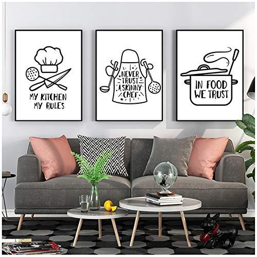 CHENSH Baño Moderno Utensilios de Cocina Carta Pintura Decorativa Imagen de Arte de Pared Arte de Pared Enmarcado Pintura de Lienzo 60x90cm / 23.6x35.4 in /con Marco
