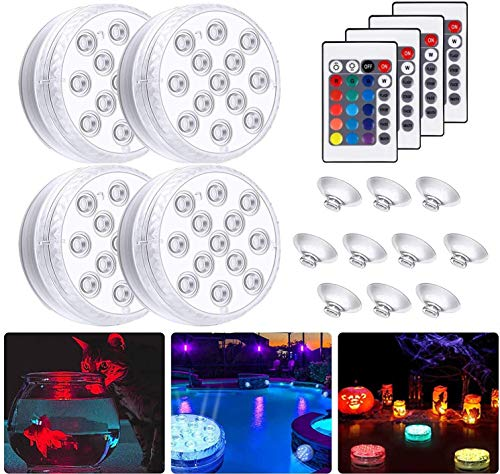 4 Pack Submersible LED Lights, Waterproof Underwater Light, RGB Light with Remote Controlled & Battery Powered for Garden, Aquarium, Vase, Bathtub, Swimming Pool, Fountain, Wedding, Decoration