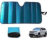 Car Windshield Sunshade-Thicken 5-Layer Bubble Block Heat and Sun UV Rays,Front Windshield Sun Shade,Sun Visor for Car- Keeps Your Vehicle Cool - 58 x 27.5 Inch (Blue)