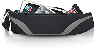 OYATON Reflective Running Belt for Women and Men, Bounce-Free Running Slim Waist Packs Waterproof with Large Pocket Phone Holder and Adjustable Elastic Strap for Hiking Walking Workout Trave