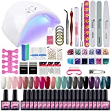 Saint-Acior 36W Secador de Uñas con Temporizador LED/UV Secador de Uñas 20pcs Esmalte Semipermanente Soak off 8ml Top Coat Base Coat Herramiento de Manicura Kit