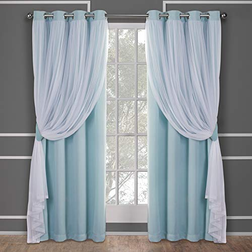 Exclusive Home Curtains Catarina Layered Solid Blackout and Sheer Window Curtain Panel Pair with Grommet Top, 52x84, Aqua, 2 Count