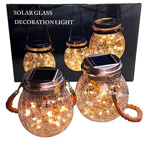 2x LED Solarglas - LED Solar Einwegglas 30 LEDs 11,5x14,5cm warmweiß inkl. Akku - 2 Gläser im Set Gartenlampe Solarlampe Solar-Laterne