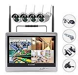 Sibo® 4 canali 960P senza fili sistema di sorveglianza IP facile accesso remoto IR giorno/visione notturna impermeabile macchina fotografica, portatile 12 pollici HD LCD Monitor Wifi NVR Kit