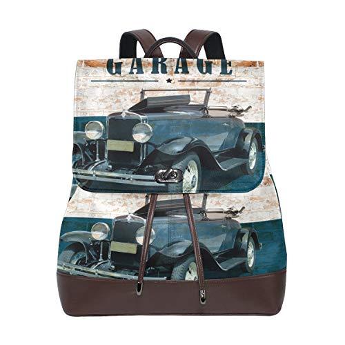 Zwei Türen Nostalgie Horsepower Auto Rucksack Geldbörse Mode PU Leder Rucksack Casual Rucksack für Frauen