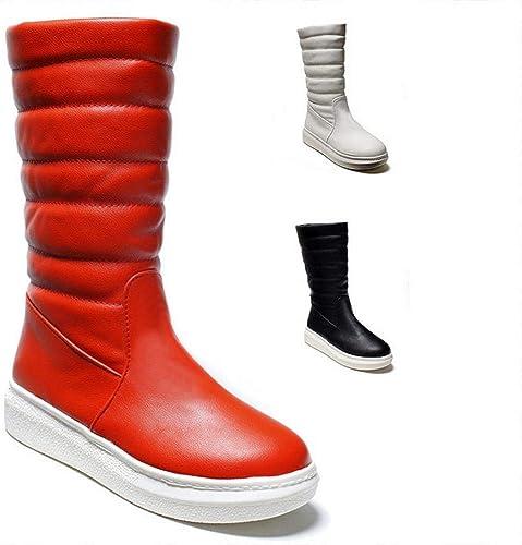 ZHRUI Bottes pour Les Les dames - Bottes d'hiver d'hiver Chaudes antidérapantes et Plates Chaussures Longues en Coton Tubulaire   35-43 (Couleuré   Rouge, Taille   42)  les promotions