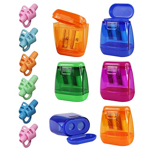 LOKiVE Manual Pencil Sharpeners, 12PCS Colorful Compact Dual Holes Sharpener with Lid, Pencil Holder Writing Aid Grip Trainer for Kids & Adults, Portable Pencil Sharpener Travel School Office