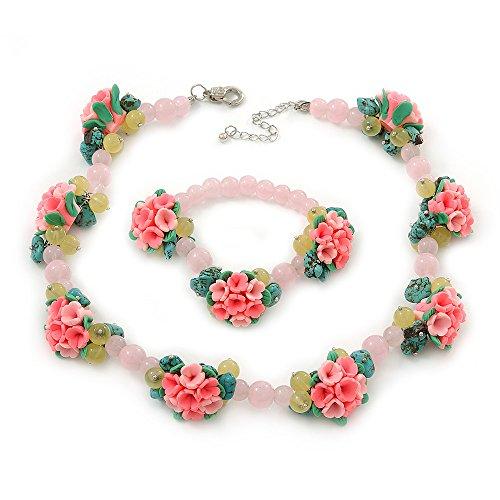 Quarzo rosa, perline turchese, Fimo Rose-Set di collana e bracciale In argento, lunghezza 40 cm + 5 cm