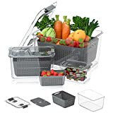 Fruit Storage Container for Refrigerator,3Piece Fruit Produce Saver Container Set for Fridge Vegetable Storage Lettuce Keeper