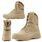 RORUN Lightweight Mid Ankle Beige Military Swat Desert Men Boots Hiking Trekking Backpacking Outdoor Boots Tactical Combat Boots Jungle Safety Army Shoes