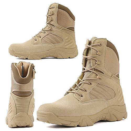 RORUN Ligero Mid Tobillo Beige Militar Swat Desierto Hombres Botas Senderismo Trekking Mochila Botas al aire libre Botas de combate táctico Selva Seguridad Ejército Zapatos, beige (Beige), 40 EU