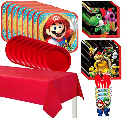 Party City Super Mario Kids Birthday Party Supplies for 8 Guests, Includes Plates, Napkins, Table Cover, Utensils, Cups
