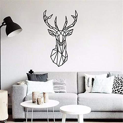 Llyzz muurstickers, geometrisch, hertenmotief, bedrukt, om zelf te maken, afneembaar, huisdecoratie, Deer, Tattoos, muurkunst 57 x 94 cm