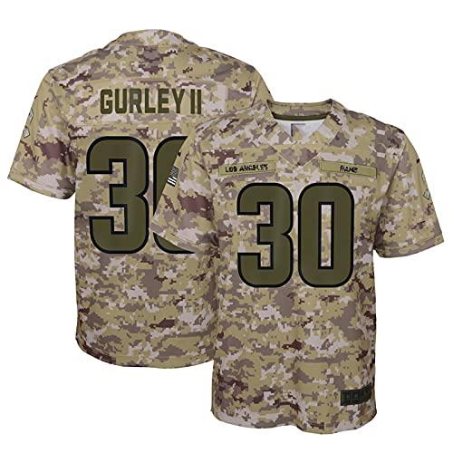 WOCTP Gurley 30# Rugby Jersey, Hombres Bordado Bordado Americano Fútbol Entrenamiento Jersey Top Transpirable Top Sudadera Al Aire Libre Army-XL(185~190CM)