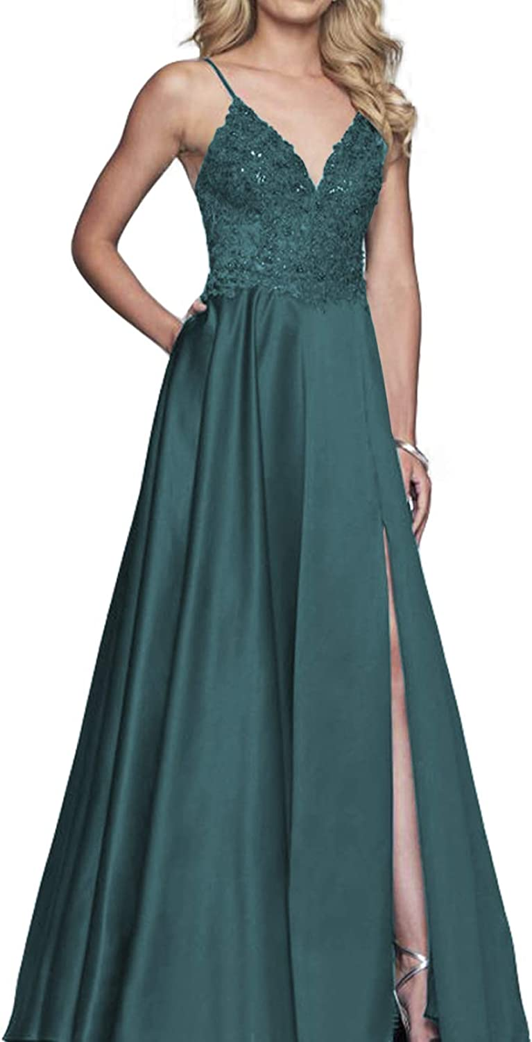 Clothfun Womens Spaghetti Strap Prom Dresses with Pocket Lace Split Evening Dress Formal Party Gown PM17