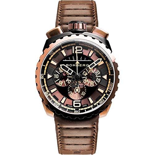 Bomberg BOLT-68 Orologio da uomo cronografo marrone e nero PVD cinturino in pelle marrone BS45CHPBRBA.050-2.3
