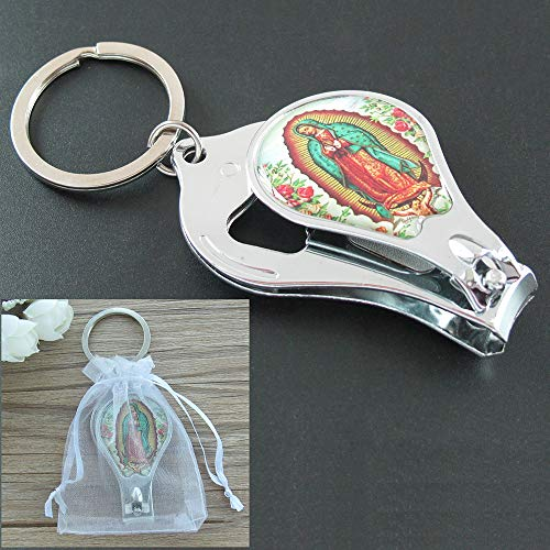 Our Lady of Guadalupe (12 PCS) Baptism Keychain with Nail Clipper and Opener Party Favors for Baby Boys and Girls/ Bautizo Recuerdos /Gift for Guest/ Christening/ First Communion Favors
