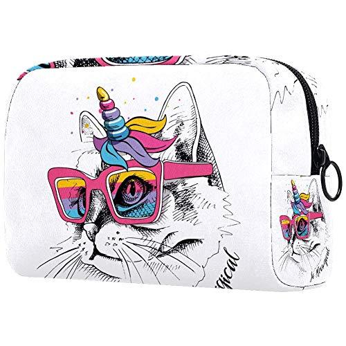 Personalisierbare Make-up-Pinsel-Tasche, tragbare Kulturtasche für Frauen, Handtasche, Kosmetik, Reise-Organizer, Regenbogen-Brille, Mähne, Horn