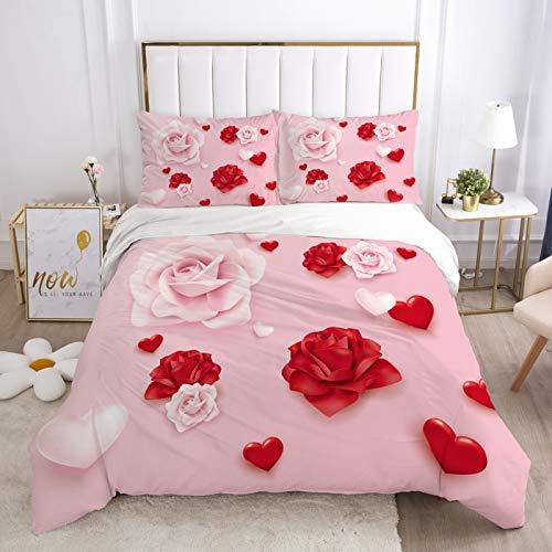 Pink Red Rose Duvet Cover Set 3 PCS Flower Floral Love Bedding Set Cozy Microfiber Bright Pink Comforter Set Girls Boys Kids Teens Adults Woman Room Decor,1 Duvet Cover 2 Pillow Shams,King Size