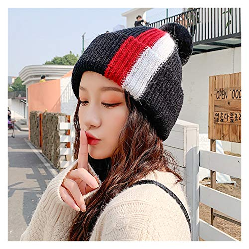 Fylsdes Winter hat Winter knitted Beanies Hats Women Thick Warm Beanie Skullies Hat Female knit Letter Bonnet Beanie Caps Outdoor Riding Sets Hats & Headwear (Color : 2, Size : One Size)
