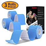 Deilin Kinesiology Tape Precut, Elastic Therapeutic Sports Tapes for Knee Shoulder and Elbow, Waterproof Athletic Physio Muscles Strips, Breathable, Waterproof, Latex-Free