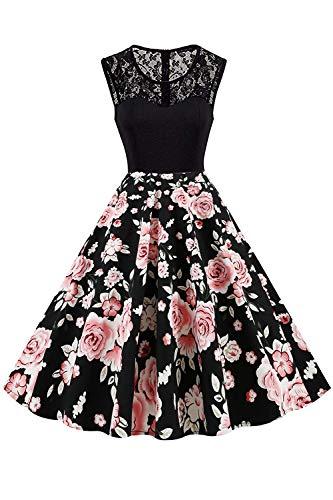 AXOE Damen Leichtes Sommerkleid mit Spitze Vintage Kleid 50er Jahre Schwarzeskleid Blumen, Farbe 08, Gr.40, L