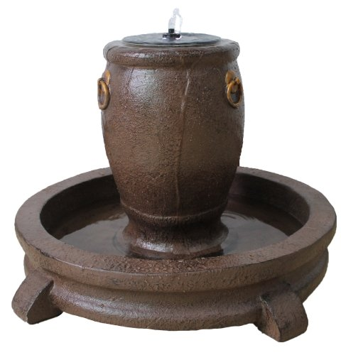 Overflowing Pot Fountain with Pump, LED Lights & Back-Up Battery